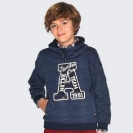 Ciepła bluza z kołnierzem szalowym dla chłopca Mayoral 7433-48 Stal