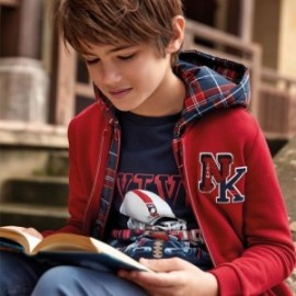 Bluza bawełniana na stójce dla chłopca Mayoral 7449-32 Bordo