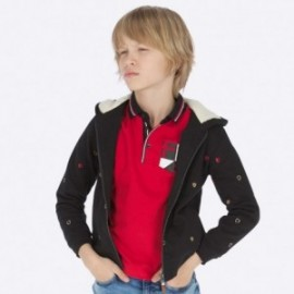 Bluza bawełniana z kapturem z haftami chłopięca Mayoral 7452-36 Czarny