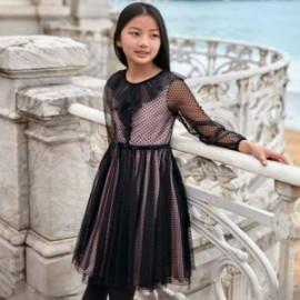 Sukienka bawełna z tiulem dziewczęca Mayoral 7924-54 Czarny