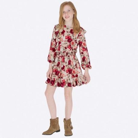 Sukienka bawełniana z nadrukiem dziewczęca Mayoral 7933-79 Rubin