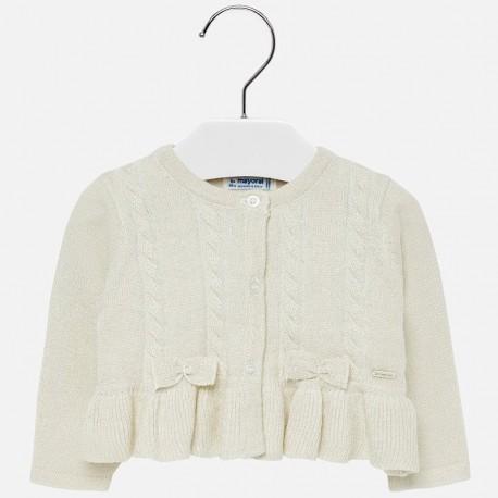 Sweter rozpinany dzianinowy z falbankami dla dziewczynki Mayoral 2316-27 Piasek
