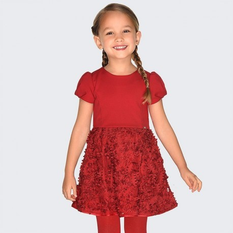 Sukienka z krótkim rękawem z efektem 3d dziewczęca Mayoral 4920-22 Czerwony