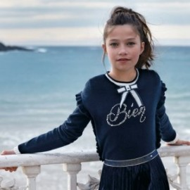 Bluza bawełniana sportowa dziewczęca Mayoral 7303-87 Granatowy