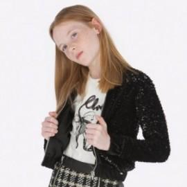 Bluza z cekinami na stójce dla dziewczynki Mayoral 7409-31 Czarny