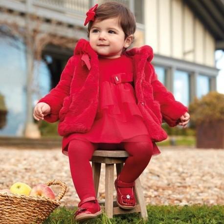 Aksamitna sukienka z tiulem elegancka dla dziewczynki Mayoral 2916-60 Szkarłat