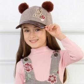 Czapka z daszkiem i pomponami dla dziewczynki Mayoral 10709-62 Brąz
