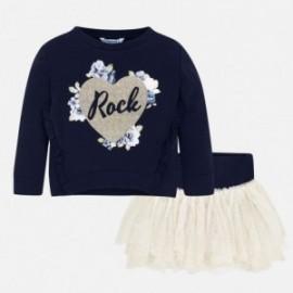 Komplet bluzka i spódnica z tiulu dla dziewczynki Mayoral 4951-72 Szampan