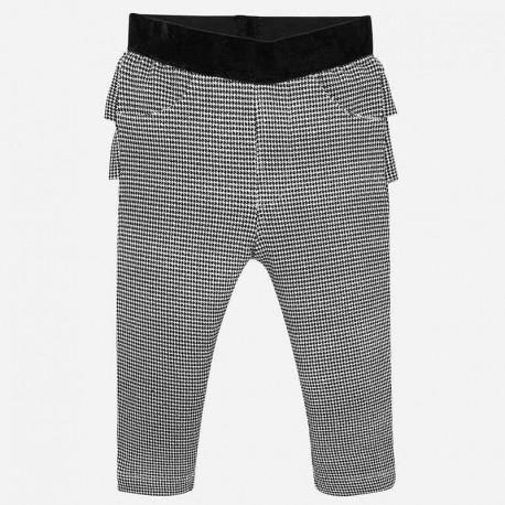 Spodnie długie w pepitko z falbanką dziewczęce Mayoral 2530-19 Czarny