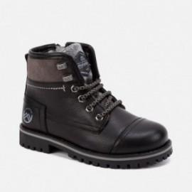 Buty ze skóry ocieplane trapery sznurowane dla chłopaka Mayoral 44071-48 Czarny