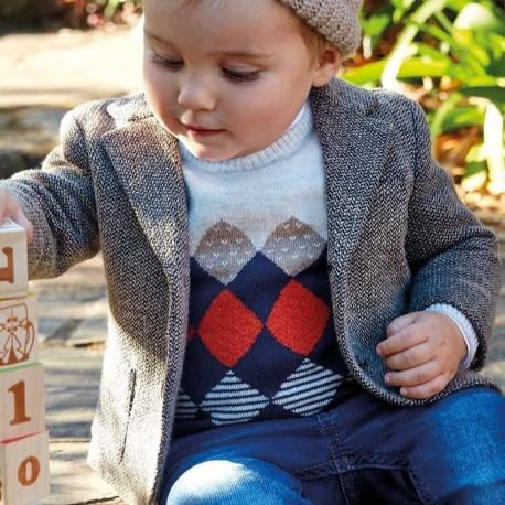 Sweter pod szyję w romby dla chłopca Mayoral 2318-29 Siano