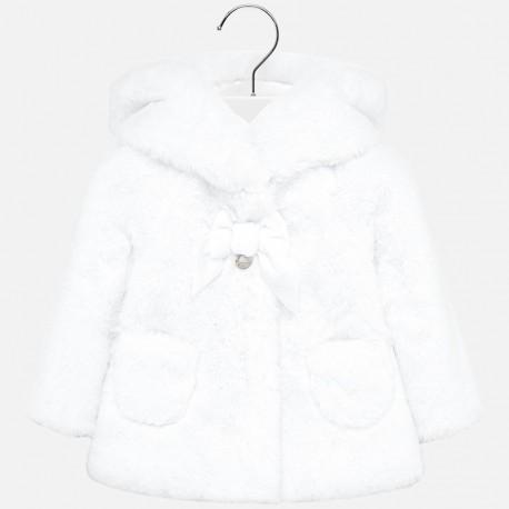 Płaszcz futerko z misia eleganckie dla dziewczynki Mayoral 2429-55 Biały
