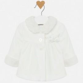 Płaszcz elegancki z aksamitu dla dziewczynki Mayoral 2408-92 Kremowy