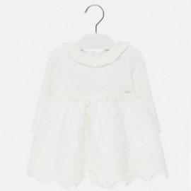 Sukienka trykotowa z tiulem dla dziewczynki Mayoral 2909-87 Kremowy