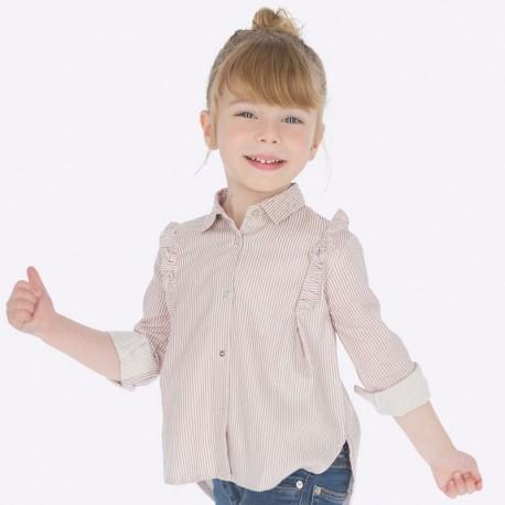 Bluzka elegancka z kołnierzykiem w paski dla dziewczynki Mayoral 4107-20 róż