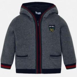 Sweter z kapturem ocieplany trykot na podszewce dla chłopca Mayoral 4323-10 Stal