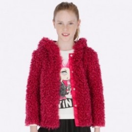 Płaszcz futerko z kapturem dziewczęca Mayoral 7416-28 Fuksja