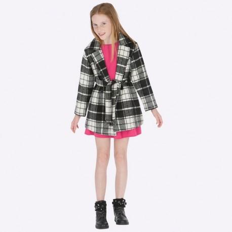 Płaszcz elegancki w kratę z paskiem dla dziewczynki Mayoral 7417-54 Czarny