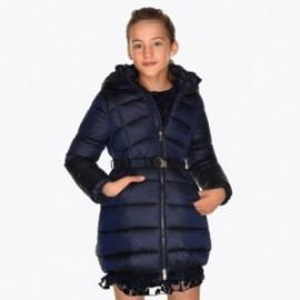 Kurtka na zimę długa z paskiem dla dziewczynki Mayoral 7419-55 Granatowy