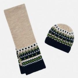 Komplet czapka i szalik żakardowy dla chłopca Mayoral 10642-26 Orzech las