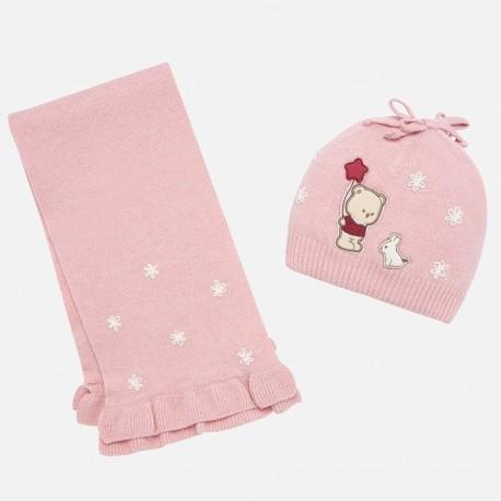 Komplet czapka i szalik z haftem dla dziewczynki Mayoral 10645-10 Różowy