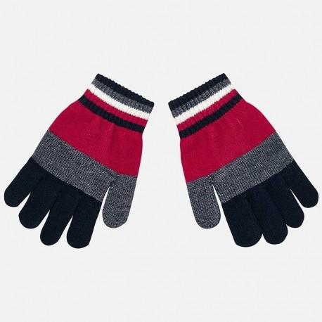 Rękawiczki pięciopalczaste trójkolorowe dla chłopca Mayoral 10686-26 Czerwony