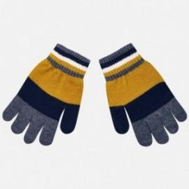 Rękawiczki pięciopalczaste trójkolorowe dla chłopca Mayoral 10686-27 Karmel