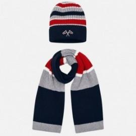 Komplet czapka i szalik w paski dla chłopca Mayoral 10695-57 Granatowy