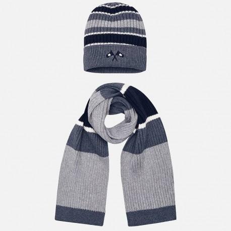 Komplet czapka i szalik w paski dla chłopca Mayoral 10695-58 Szary