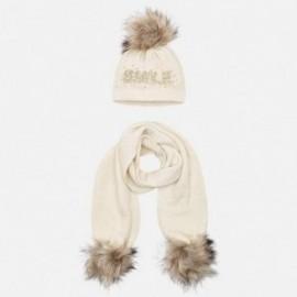 Komplet czapka i szalik z napisem dla dziewczynki Mayoral 10700-36 Piasek