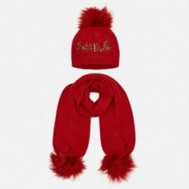 Komplet czapka i szalik z napisem dla dziewczynki Mayoral 10700-39 Czerwony