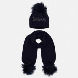 Komplet czapka i szalik z napisem dla dziewczynki Mayoral 10700-40 Granatowy