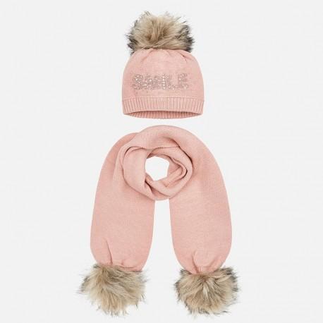 Komplet czapka i szalik z napisem dla dziewczynki Mayoral 10700-37 Kwarc