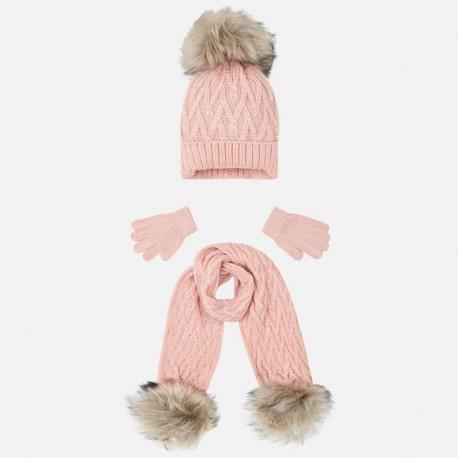 Komplet czapka i szalik dla dziewczynki Mayoral 10701-47 Kwarc
