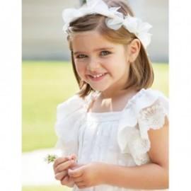 Sukienka len haft dla dziewczynki Abel & Lula 5001-3 Krem