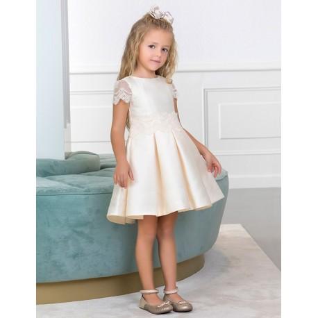 Sukienka wizytowa dla dziewczynki Abel & Lula 5003-3 Kość słoniowa