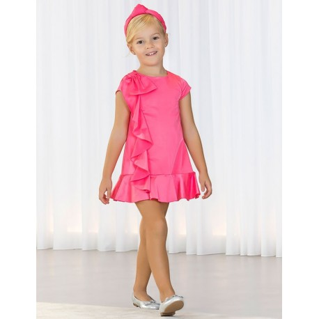 Sukienka wizytowa satyna z falbankami dla dziewczynki Abel & Lula 5036-4 Róż