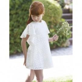 Sukienka żakardowa z ażurem dla dziewczynki Abel & Lula 5041-2 Krem