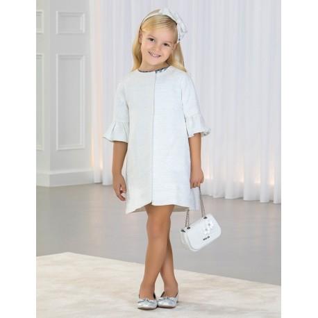 Płaszcz elegancki połysk dla dziewczynki Abel & Lula 5308-19 Biały