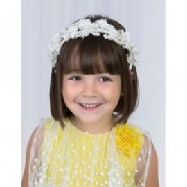 Opaska w kwiaty z gipiurą dla dziewczynki Abel & Lula 5432-1 Biały