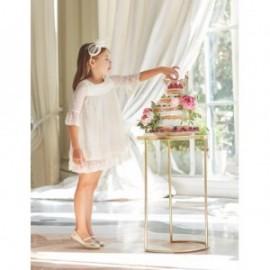 Sukienka z koronki i gipiury dla dziewczynki Abel & Lula 5004-2 Krem