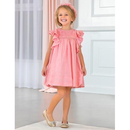 Sukienka wizytowa z falbankami dla dziewczynki Abel & Lula 5017-6 róż