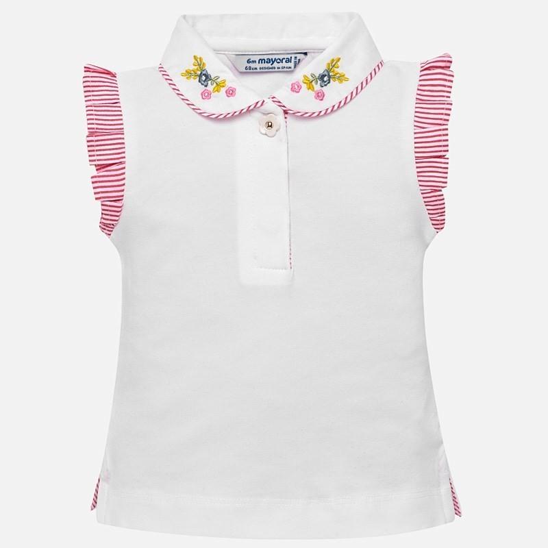 Mayoral 1109-21 Polo k/r z haftem dla dziewczynki Biały
