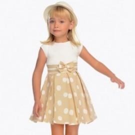Mayoral 3938-84 Sukienka dziewczęca elegancka na ramiączkach jasny brąz