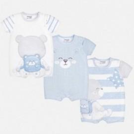 Mayoral 1725-94 Zestaw 3 piżamki krótkie niemowlęce Niebieski