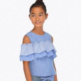 Mayoral 6108-43 Bluzka z odkrytymi ramionami dziewczęca Niebieska