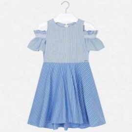 Mayoral 6936-2 Sukienka z odkrytymi ramionami dla dziewczynki Niebieska