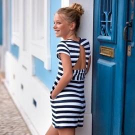 Mayoral 6944-972 Sukienka w paski dziewczęca Granatowa