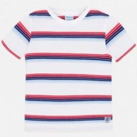 Mayoral 3037-61 Koszulka k/r w paski dla chłopca Biała