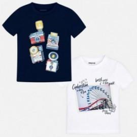 Mayoral 3044-46 Komplet 2 koszulki k/r chłopięce Biały/Granat